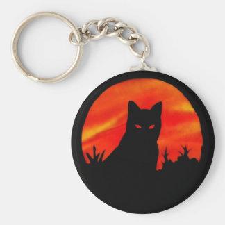 Luna de la cosecha del gatito llaveros