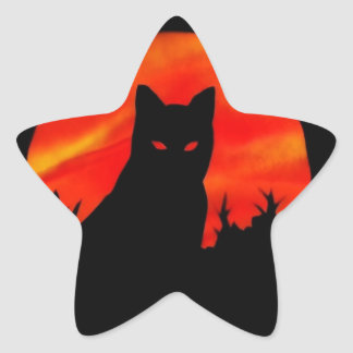 Luna de la cosecha del gatito calcomanía forma de estrella personalizadas