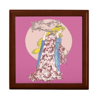 Luna de la flor de cerezo joyero cuadrado grande