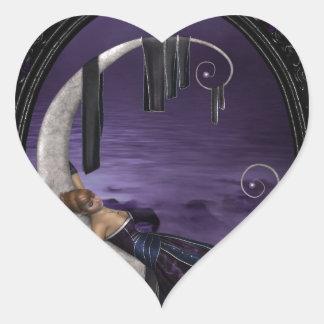Luna de la lavanda pegatina de corazón personalizadas