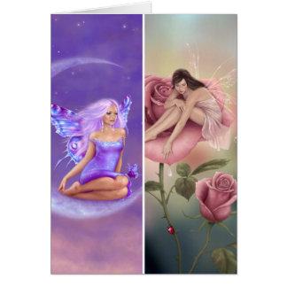 Luna de la lavanda y tarjeta de hadas color de ros