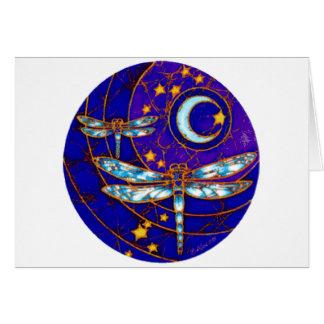 luna de la libélula tarjeta de felicitación