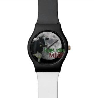 Luna de la vaca del grito relojes de pulsera