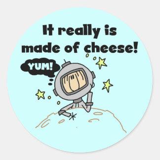 Luna de las camisetas y de los regalos del queso etiqueta redonda
