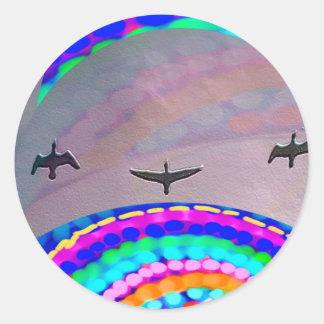 Luna de los pájaros n pegatina redonda