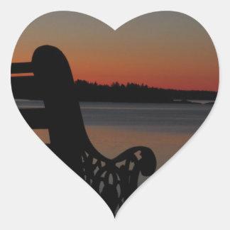 Luna de Maine del puerto franco en la salida del Pegatina En Forma De Corazón
