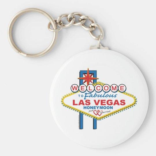 Luna de miel de Las Vegas Llavero Redondo Tipo Pin