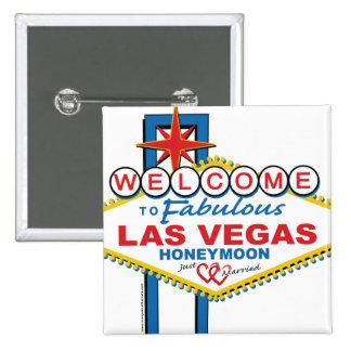Luna de miel de Las Vegas Pin Cuadrado