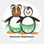 Luna de miel hawaiana etiquetas redondas