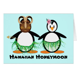 Luna de miel hawaiana tarjeta de felicitación