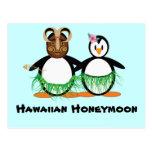 Luna de miel hawaiana tarjeta postal