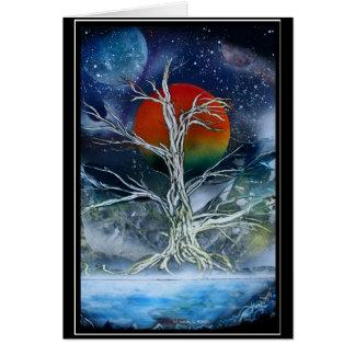 Luna de niebla del naranja de la noche del solo ár felicitación