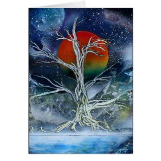 Luna de niebla del naranja de la noche del solo ár felicitacion