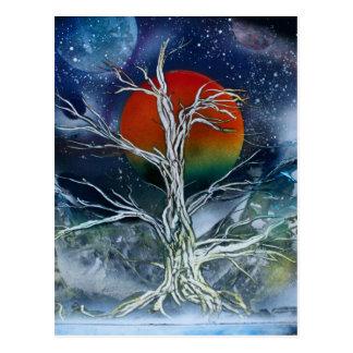 Luna de niebla del naranja de la noche del solo ár postales