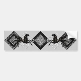 Luna de plata salvaje de los caballos 14 etiqueta de parachoque