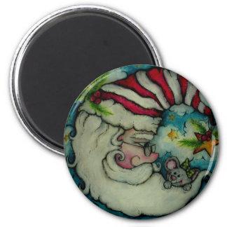 Luna de Santa - diseño del día de fiesta Imán Redondo 5 Cm