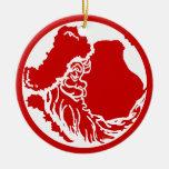 Luna de Santa en el ornamento rojo Adorno