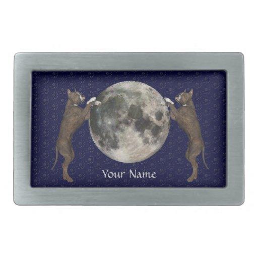 Luna de Staffordshire Terrier Hebilla De Cinturón Rectangular