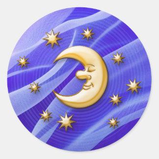 Luna de sueño feliz pegatina redonda