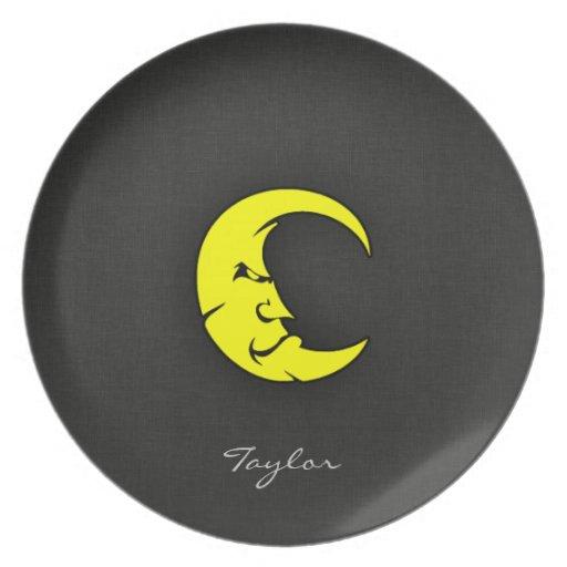 Luna del amarillo amarillo plato para fiesta