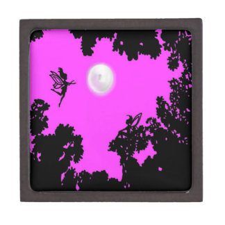 Luna del bosque del Faerie Cajas De Recuerdo De Calidad