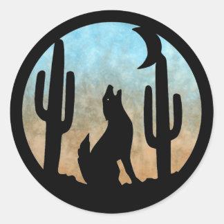 Luna del coyote pegatina redonda