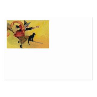 Luna del creciente del gato negro de la escoba del tarjetas de visita