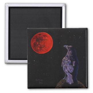 Luna del cuervo imán cuadrado