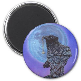 Luna del cuervo imán redondo 5 cm