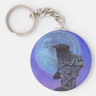 Luna del cuervo llavero redondo tipo pin