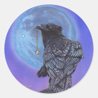 Luna del cuervo etiquetas redondas