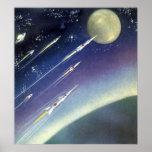 Luna del espacio exterior de Rockets de la ciencia Poster