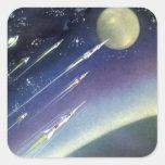Luna del espacio exterior de Rockets de la ciencia Calcomanías Cuadradas Personalizadas