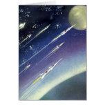 Luna del espacio exterior de Rockets de la ciencia Tarjetón