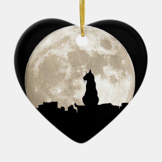 Luna del gato callejero adorno navideño de cerámica en forma de corazón