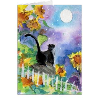 Luna del gato del smoking en girasoles tarjeta de felicitación