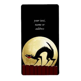 Luna del gato negro w/Full de Halloween Etiquetas De Envío
