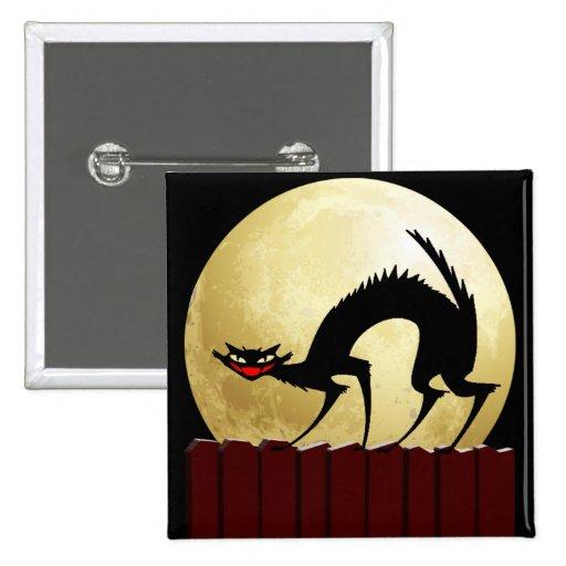 Luna del gato negro w/Full de Halloween Pins
