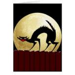 Luna del gato negro w/Full de Halloween Tarjetas
