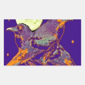 Luna del gótico de los cuervos de noche por pegatina rectangular
