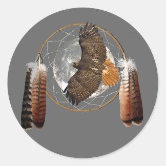 Luna del halcón pegatina redonda
