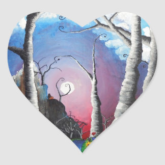 Luna del halo pegatina en forma de corazón