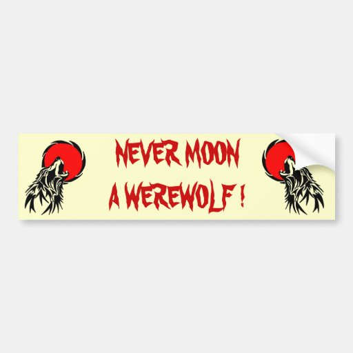 Luna del hombre lobo etiqueta de parachoque