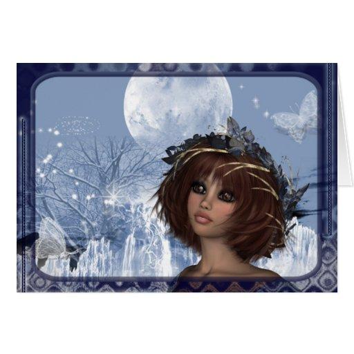 Luna del invierno - diseño de la mujer de la tarjeta de felicitación