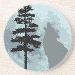Luna del lobo gris posavasos diseño