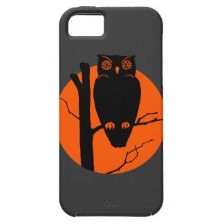 Luna del naranja del búho de Silouhette del iPhone 5 Carcasas