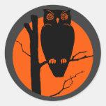 Luna del naranja del búho de Silouhette del vintag Etiquetas