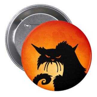 Luna del naranja del gato negro pin redondo de 3 pulgadas