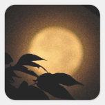 Luna del otoño calcomanía cuadradas personalizada
