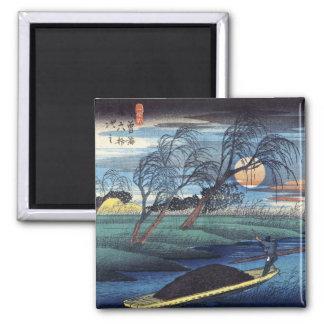 Luna del otoño en Seba, Hiroshige Imán Cuadrado